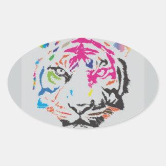 Rosa Panther-Verrücktheit Ovale Aufkleber