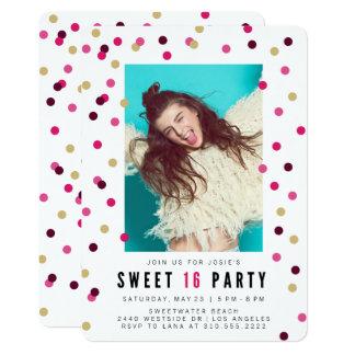 Rosa Party Einladung des Confetti-Foto-Bonbon-16