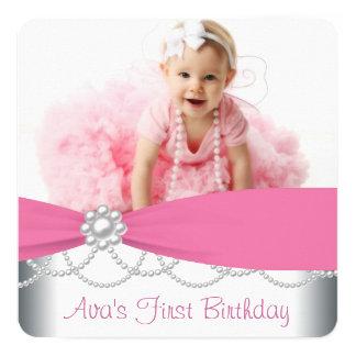 Rosa perlt Mädchen-Foto-Geburtstags-Party Quadratische 13,3 Cm Einladungskarte