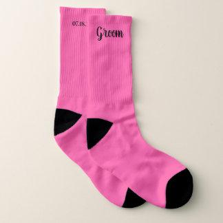 Rosa personalisierte Bräutigam-Hochzeit Socken