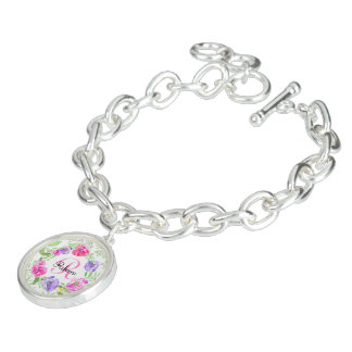 Rosa Pfingstrosen-BlumenAquarell-Monogramm Charm Armband