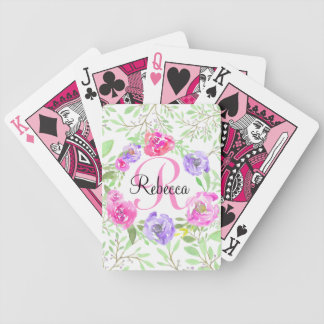 Rosa Pfingstrosen-BlumenAquarell-Monogramm Poker Karten