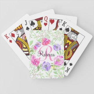 Rosa Pfingstrosen-BlumenAquarell-Monogramm Spielkarten