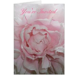 Rosa Pfingstrosen-Hochzeits-Einladungs-Schablone Mitteilungskarte
