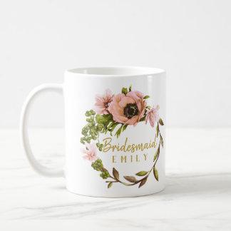 Rosa Pfingstrosen-Kranz-Brautjungfern-Name ID456 Tasse