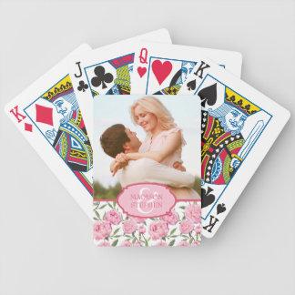 Rosa Pfingstrosewatercolor-Blumen - Hochzeits-Foto Poker Karten
