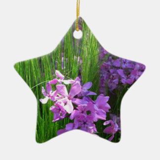 Rosa Phlox-und Gras-Sommer-Blumen Keramik Ornament
