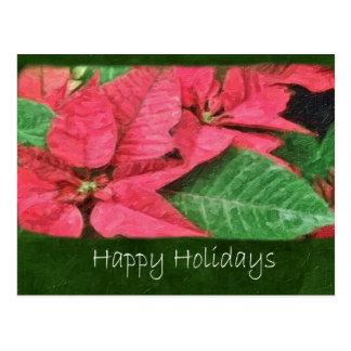 Rosa Poinsettias 4 Painterly - frohe Feiertage Postkarte