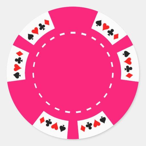 Rosa Poker-und Spiel-Chip Runde Aufkleber
