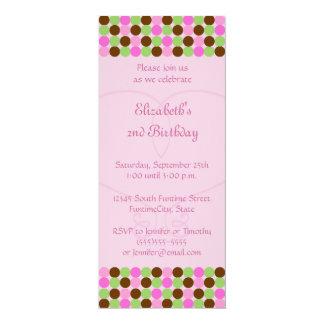 Rosa Polkapunkt Mädchen-Geburtstags-Party 10,2 X 23,5 Cm Einladungskarte