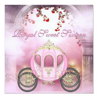 Rosa Prinzessin Carriage Enchanted Sweet 16 Quadratische 13,3 Cm Einladungskarte