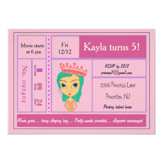 Rosa Prinzessin Movie Ticket Invitation 12,7 X 17,8 Cm Einladungskarte
