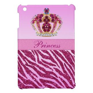 Rosa Prinzessin Printed Crown u. Zebra-Glitter iPad Mini Hüllen