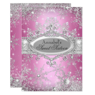Rosa Prinzessin Winter Wonderland Sweet 16 laden Karte
