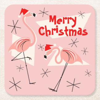 Rosa Quadrat froher Weihnachten Flamingo-Sankt Rechteckiger Pappuntersetzer