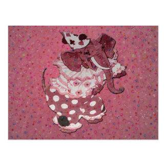 Rosa Retro Zirkus-Elefant-Postkarte Postkarte