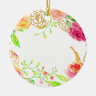 Rosa Rose des Watercolor mit Goldfolienrahmen Rundes Keramik Ornament