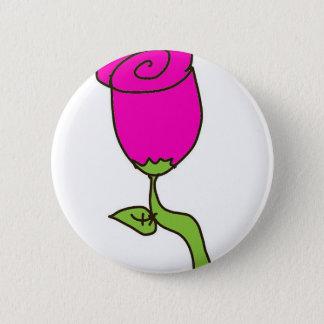 rosa Rose in einem Zeichnen Runder Button 5,1 Cm