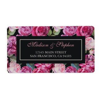 Rosa RoseblumenWatercolor - Hochzeit Versandetiketten