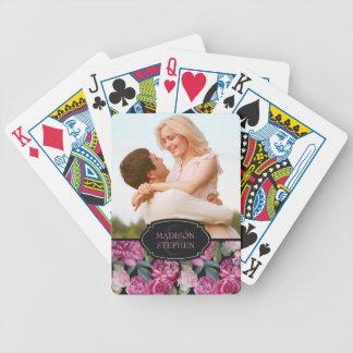 Rosa RoseblumenWatercolor - Hochzeits-Foto Pokerkarten