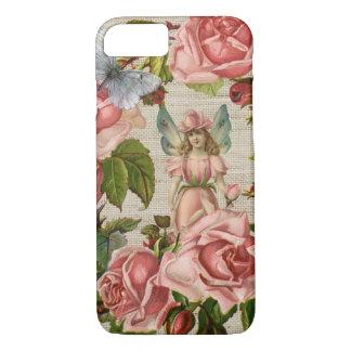 Rosa Rosen-Blumen-feenhafter Ring-Creme-Leinwand iPhone 8/7 Hülle