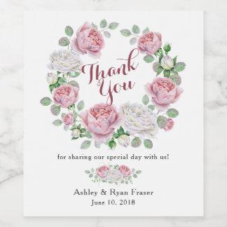 Rosa Rosen-Blumenhochzeit Burgunders danken Ihnen Weinetikett