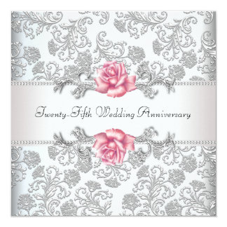 Rosa Rosen-Damast-Silber-25. Hochzeits-Jahrestag Quadratische 13,3 Cm Einladungskarte