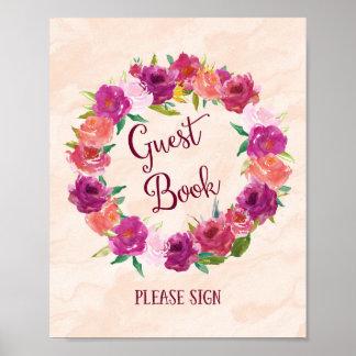 Rosa Rosen-Gast-Buch-Hochzeits-Plakat-Druck Poster