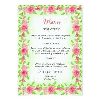 Rosa Rosen-Hochzeits-Menü 12,7 X 17,8 Cm Einladungskarte