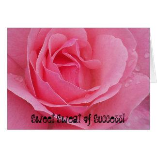 Rosa Rosen-Karte - Bonbon-Schweiß des Erfolgs! Mitteilungskarte