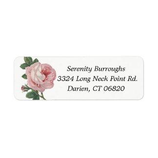 Rosa Rosen-mit BlumenBlumen - Hochzeit, Verlobung Kleiner Adressaufkleber