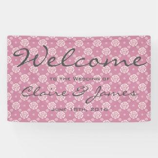 Rosa Rosen-Muster-Willkommens-Hochzeit Banner