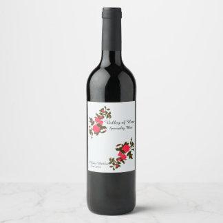 Rosa Rosen-Spray-Zuhause abgefüllt Weinetikett