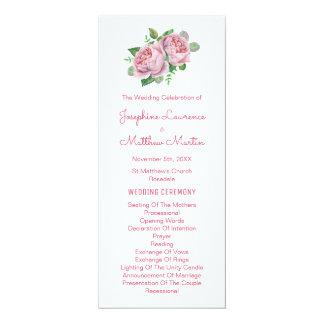 Rosa Rosenwatercolor-Hochzeits-Programme 10,2 X 23,5 Cm Einladungskarte