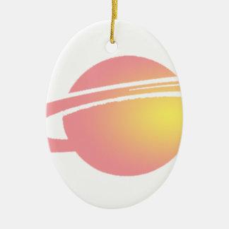 Rosa Saturn Ovales Keramik Ornament