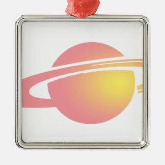 Rosa Saturn Quadratisches Silberfarbenes Ornament