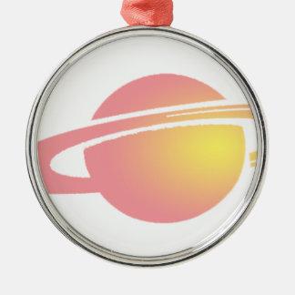 Rosa Saturn Rundes Silberfarbenes Ornament