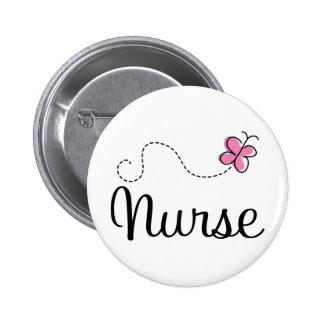 Rosa Schmetterlings-Krankenschwester-Geschenk-T-St Runder Button 5,7 Cm