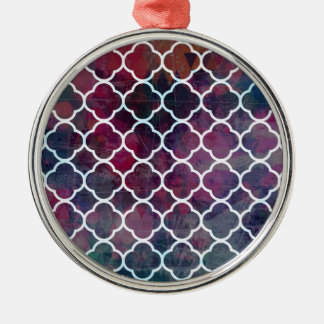 Rosa Schmutz-Marokkaner-Art Rundes Silberfarbenes Ornament