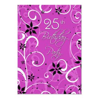 Rosa Schwarz-25. Geburtstags-Party Einladungskarte
