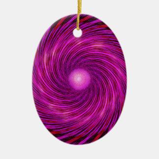 Rosa Schwarz-Spiralen-Wellen-Kaleidoskop-Kunst Ovales Keramik Ornament
