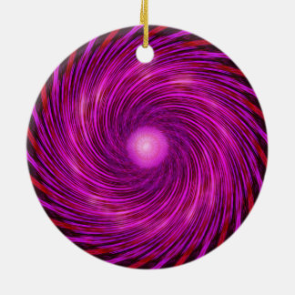 Rosa Schwarz-Spiralen-Wellen-Kaleidoskop-Kunst Rundes Keramik Ornament