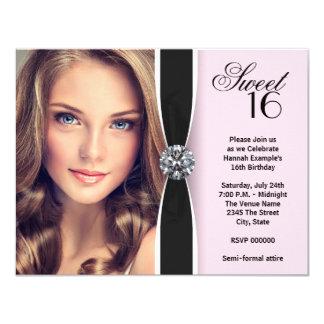 Rosa schwarzer Foto-Bonbon 16 Geburtstags-Party 10,8 X 14 Cm Einladungskarte