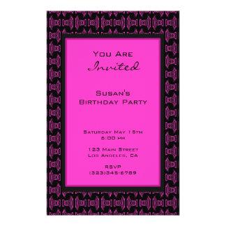 Rosa schwarzes Muster-Party Flyer