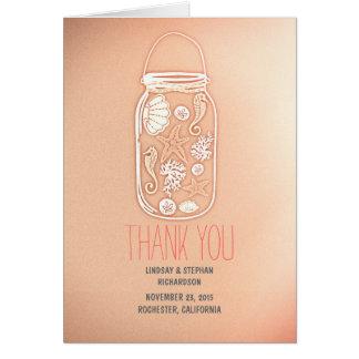 rosa Seashells-Weckglashochzeit danken Ihnen Karte