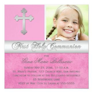 Rosa, Silber-erste heilige Quadratische 13,3 Cm Einladungskarte