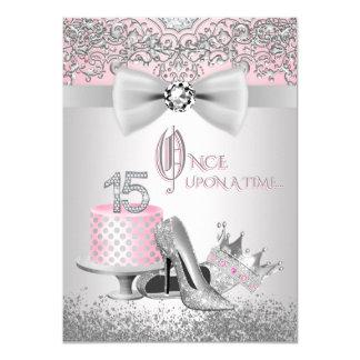 Rosa silberne Quinceanera Prinzessin Birthday Karte