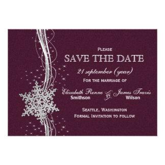 rosa silberner Schneeflocke-Winter Save the Date Individuelle Einladungskarte