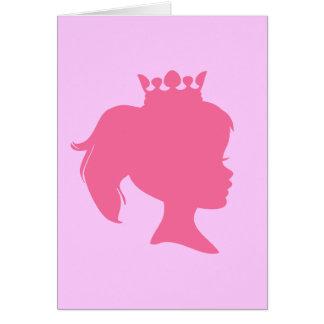 Rosa Silhouette-Prinzessin T-shirts und Geschenke Mitteilungskarte