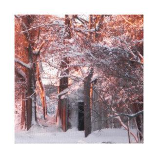 Rosa Sonnenaufgang und Schnee-Winter-Foto Leinwanddruck